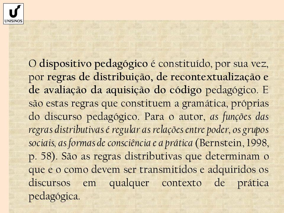 O dispositivo pedagógico é constituído, por sua vez, por regras de distribuição, de recontextualização e de avaliação da aquisição do código pedagógic