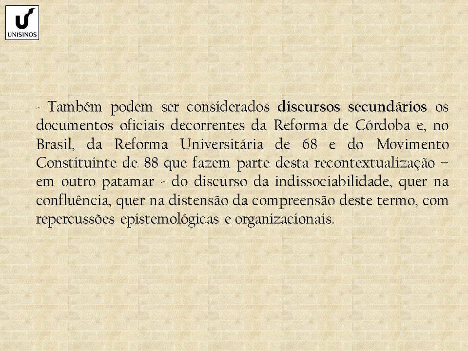 - Também podem ser considerados discursos secundários os documentos oficiais decorrentes da Reforma de Córdoba e, no Brasil, da Reforma Universitária