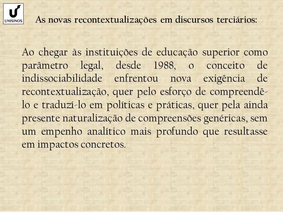 As novas recontextualizações em discursos terciários: Ao chegar às instituições de educação superior como parâmetro legal, desde 1988, o conceito de i