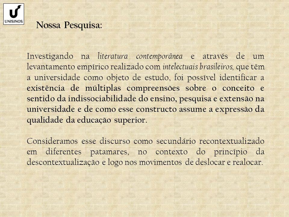 Nossa Pesquisa: Investigando na literatura contemporânea e através de um levantamento empírico realizado com intelectuais brasileiros, que têm a unive