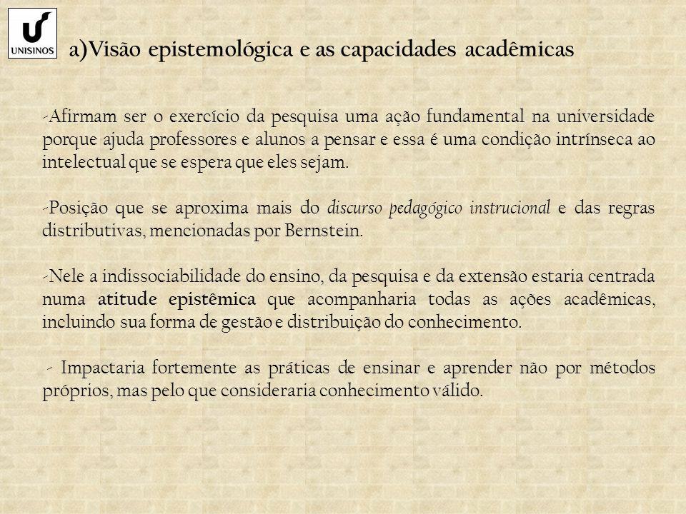 a)Visão epistemológica e as capacidades acadêmicas -Afirmam ser o exercício da pesquisa uma ação fundamental na universidade porque ajuda professores