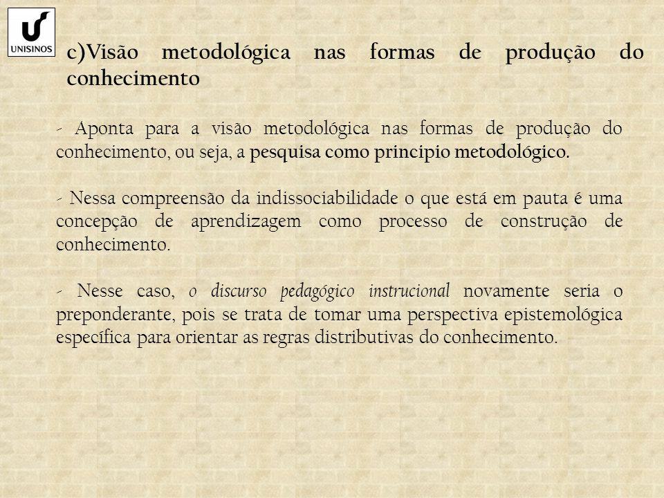 c)Visão metodológica nas formas de produção do conhecimento - Aponta para a visão metodológica nas formas de produção do conhecimento, ou seja, a pesq