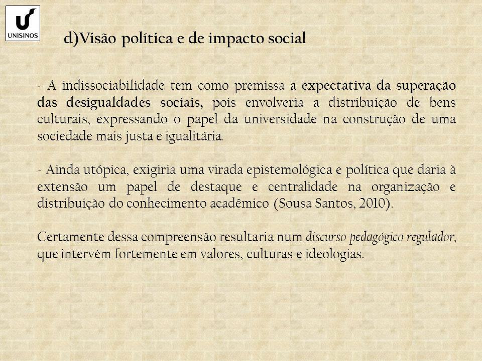 d)Visão política e de impacto social - A indissociabilidade tem como premissa a expectativa da superação das desigualdades sociais, pois envolveria a