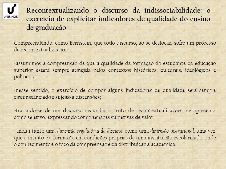 Recontextualizando o discurso da indissociabilidade: o exercício de explicitar indicadores de qualidade do ensino de graduação Compreendendo, como Ber