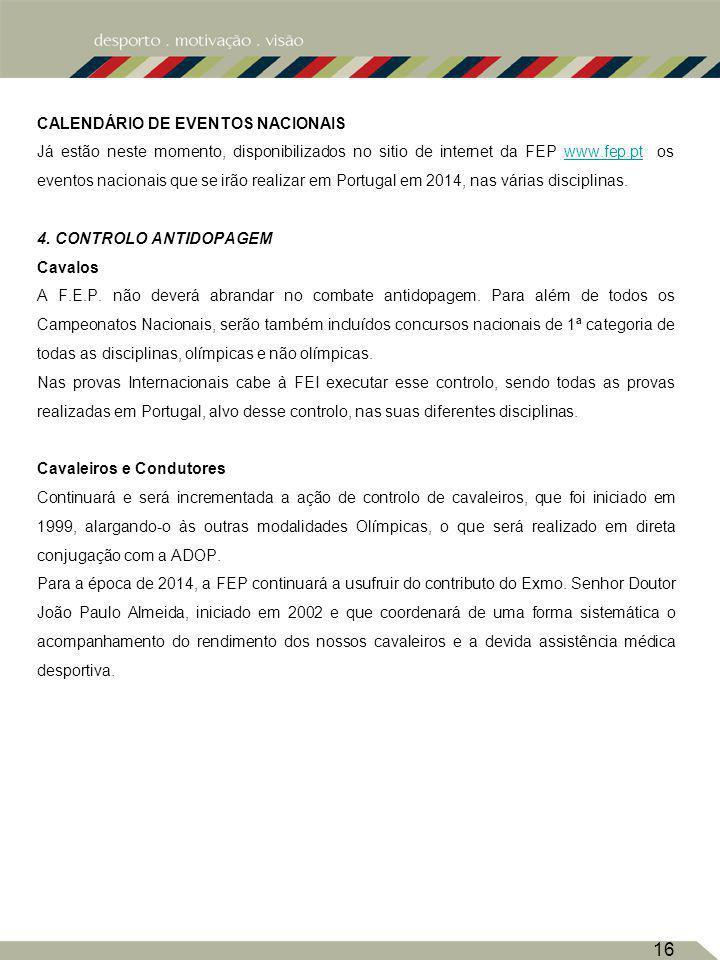 CALENDÁRIO DE EVENTOS NACIONAIS Já estão neste momento, disponibilizados no sitio de internet da FEP www.fep.pt os eventos nacionais que se irão realizar em Portugal em 2014, nas várias disciplinas.www.fep.pt 4.