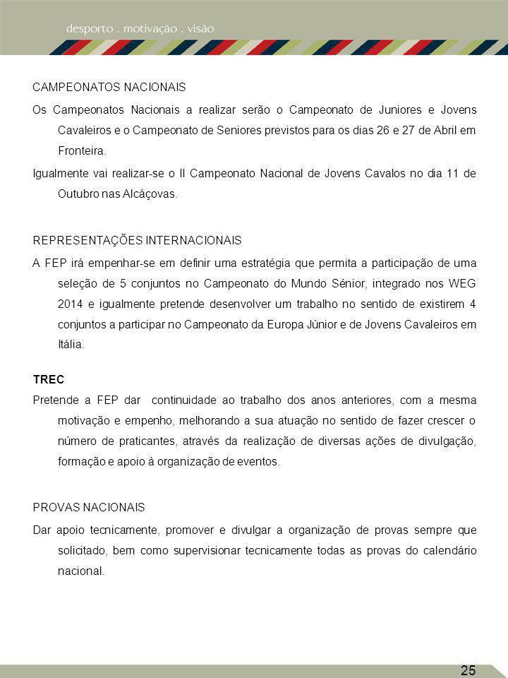 CAMPEONATOS NACIONAIS Os Campeonatos Nacionais a realizar serão o Campeonato de Juniores e Jovens Cavaleiros e o Campeonato de Seniores previstos para os dias 26 e 27 de Abril em Fronteira.