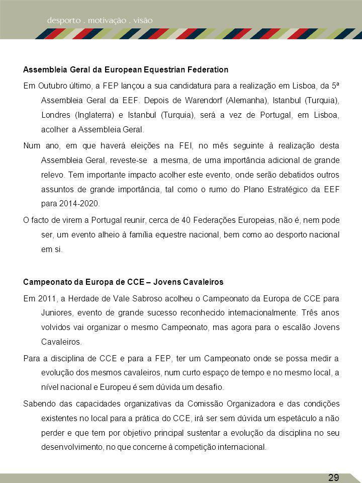Assembleia Geral da European Equestrian Federation Em Outubro último, a FEP lançou a sua candidatura para a realização em Lisboa, da 5ª Assembleia Geral da EEF.