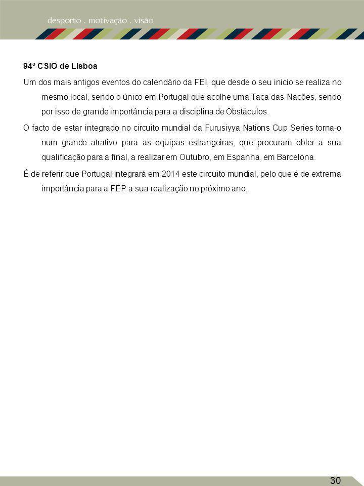 94º CSIO de Lisboa Um dos mais antigos eventos do calendário da FEI, que desde o seu inicio se realiza no mesmo local, sendo o único em Portugal que a