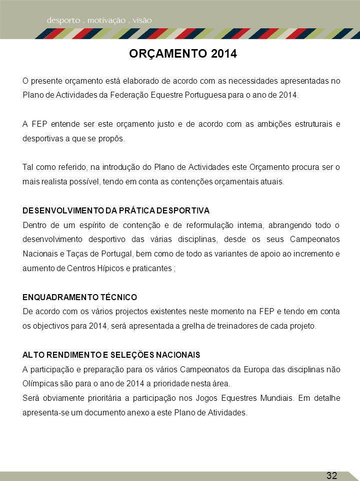 32 ORÇAMENTO 2014 O presente orçamento está elaborado de acordo com as necessidades apresentadas no Plano de Actividades da Federação Equestre Portuguesa para o ano de 2014.