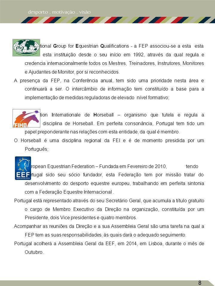 8 International Group for Equestrian Qualifications - a FEP associou-se a esta esta esta instituição desde o seu início em 1992, através da qual regul