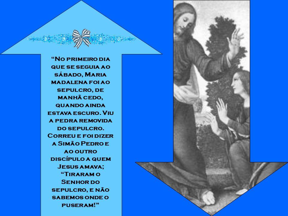 No primeiro dia que se seguia ao sábado, Maria madalena foi ao sepulcro, de manhã cedo, quando ainda estava escuro.