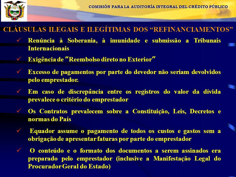 COMISIÓN PARA LA AUDITORÍA INTEGRAL DEL CRÉDITO PÚBLICO CLÁUSULAS ILEGAIS E ILEGÍTIMAS DOS REFINANCIAMENTOS Renúncia à Soberania, à imunidade e submissão a Tribunais Internacionais Exigência de Reembolso direto no Exterior Excesso de pagamentos por parte do devedor não seriam devolvidos pelo emprestador.