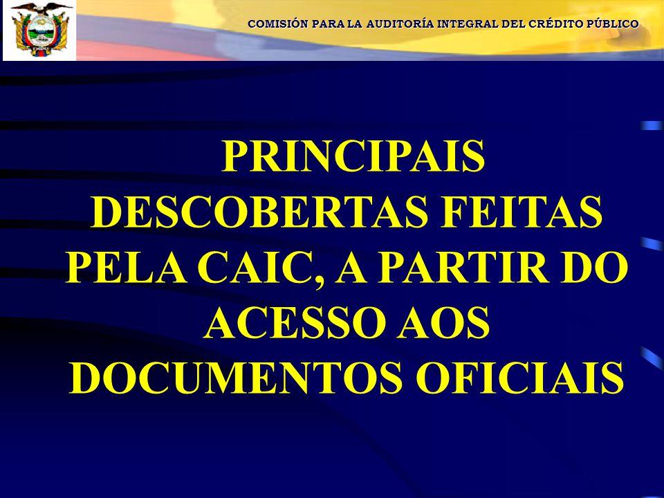 PRINCIPAIS DESCOBERTAS FEITAS PELA CAIC, A PARTIR DO ACESSO AOS DOCUMENTOS OFICIAIS COMISIÓN PARA LA AUDITORÍA INTEGRAL DEL CRÉDITO PÚBLICO