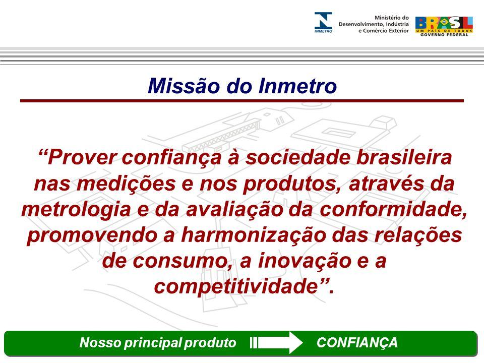 Prover confiança à sociedade brasileira nas medições e nos produtos, através da metrologia e da avaliação da conformidade, promovendo a harmonização das relações de consumo, a inovação e a competitividade .
