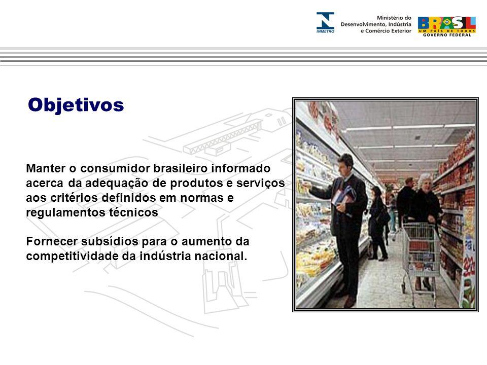 Objetivos Manter o consumidor brasileiro informado acerca da adequação de produtos e serviços aos critérios definidos em normas e regulamentos técnicos Fornecer subsídios para o aumento da competitividade da indústria nacional.