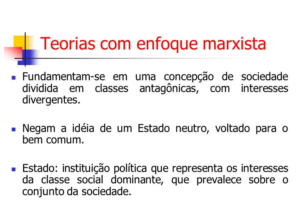 Teorias com enfoque marxista Fundamentam-se em uma concepção de sociedade dividida em classes antagônicas, com interesses divergentes. Negam a idéia d