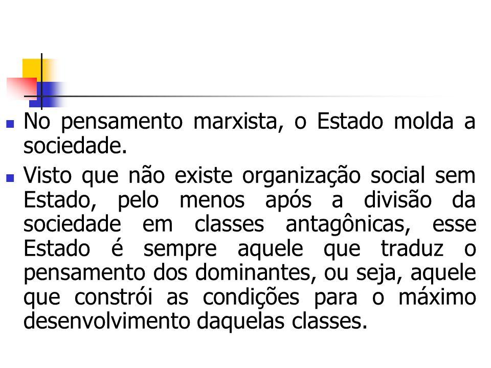 No pensamento marxista, o Estado molda a sociedade. Visto que não existe organização social sem Estado, pelo menos após a divisão da sociedade em clas