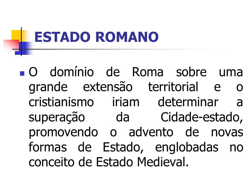 ESTADO ROMANO O domínio de Roma sobre uma grande extensão territorial e o cristianismo iriam determinar a superação da Cidade-estado, promovendo o adv