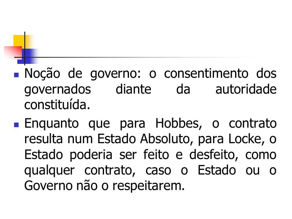 Noção de governo: o consentimento dos governados diante da autoridade constituída. Enquanto que para Hobbes, o contrato resulta num Estado Absoluto, p