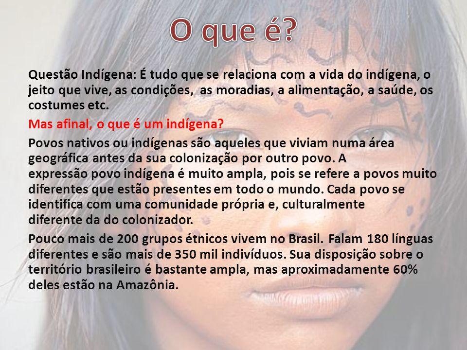 Questão Indígena: É tudo que se relaciona com a vida do indígena, o jeito que vive, as condições, as moradias, a alimentação, a saúde, os costumes etc.