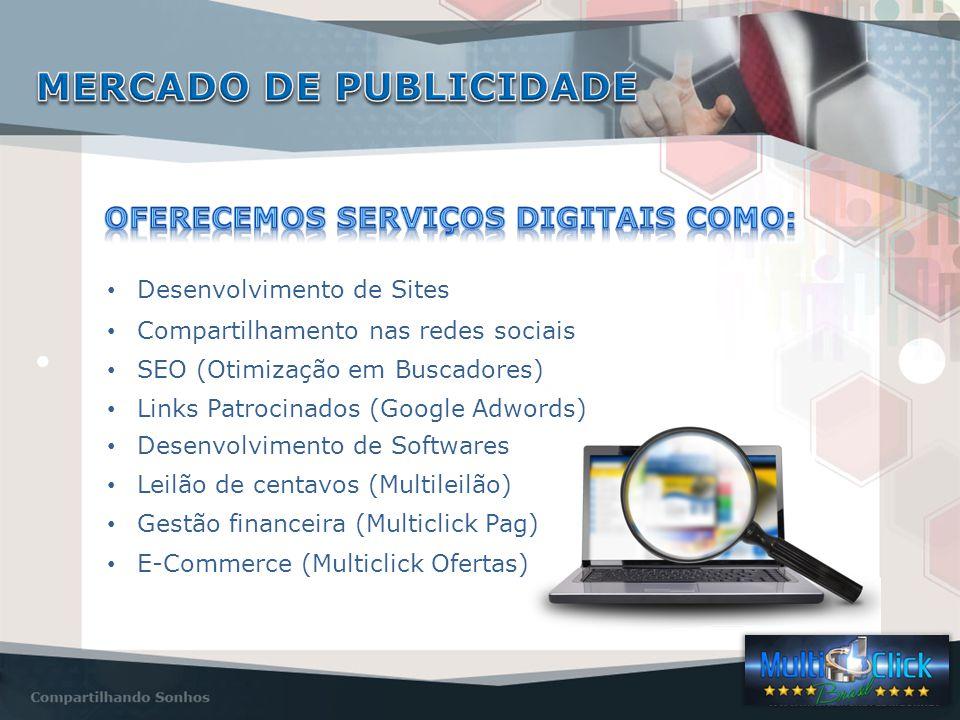 Desenvolvimento de Sites Compartilhamento nas redes sociais SEO (Otimização em Buscadores) Links Patrocinados (Google Adwords) Desenvolvimento de Softwares Leilão de centavos (Multileilão) E-Commerce (Multiclick Ofertas) Gestão financeira (Multiclick Pag)