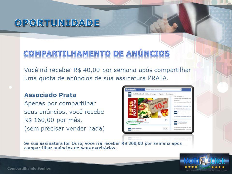 Você irá receber R$ 40,00 por semana após compartilhar uma quota de anúncios de sua assinatura PRATA.