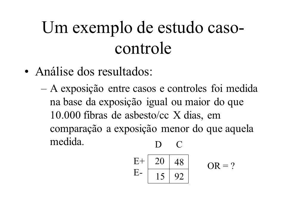 Um exemplo de estudo caso- controle Análise dos resultados: –A exposição entre casos e controles foi medida na base da exposição igual ou maior do que