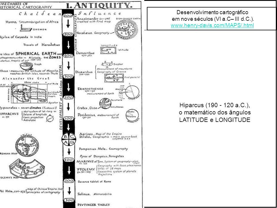 Desenvolvimento cartográfico em nove séculos (VI a.C– III d.C.).