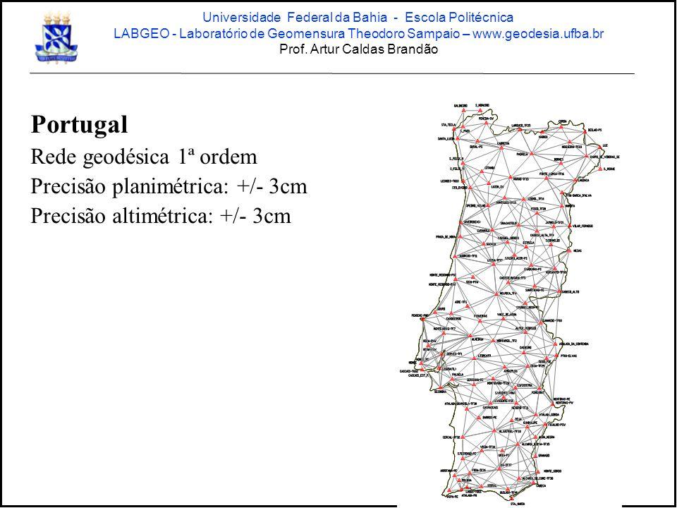 Portugal Rede geodésica 1ª ordem Precisão planimétrica: +/- 3cm Precisão altimétrica: +/- 3cm Universidade Federal da Bahia - Escola Politécnica LABGEO - Laboratório de Geomensura Theodoro Sampaio – www.geodesia.ufba.br Prof.