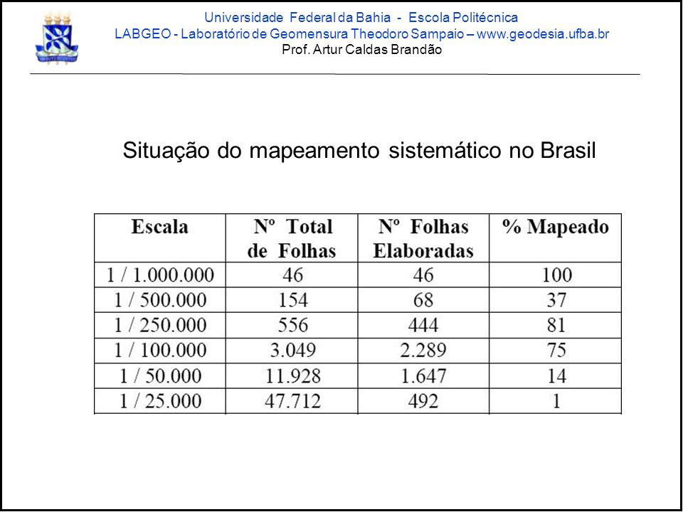 Situação do mapeamento sistemático no Brasil Universidade Federal da Bahia - Escola Politécnica LABGEO - Laboratório de Geomensura Theodoro Sampaio – www.geodesia.ufba.br Prof.