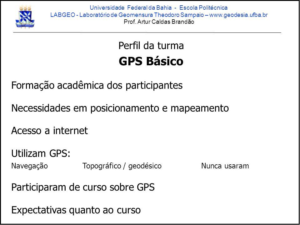 NAVSTAR - GPS NAVigation System with Time and Ranging - Global Positioning System GNSS Global Navigation Satellite System (GPS + GLONASS + GALILEO +...) Universidade Federal da Bahia - Escola Politécnica LABGEO - Laboratório de Geomensura Theodoro Sampaio – www.geodesia.ufba.br Prof.