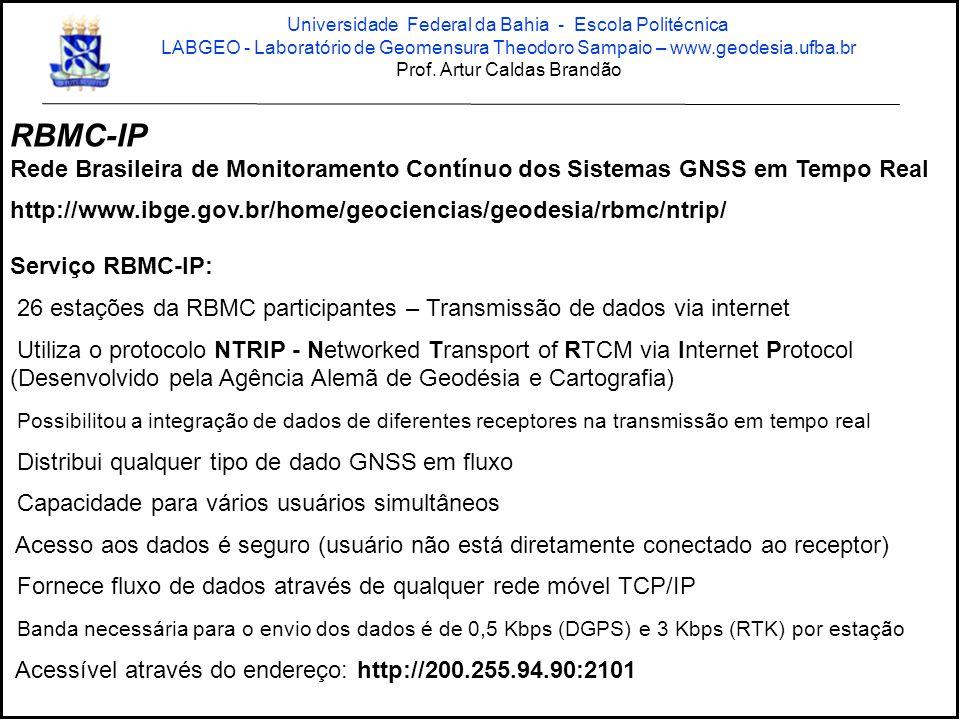 Serviço RBMC-IP: 26 estações da RBMC participantes – Transmissão de dados via internet Utiliza o protocolo NTRIP - Networked Transport of RTCM via Internet Protocol (Desenvolvido pela Agência Alemã de Geodésia e Cartografia) Possibilitou a integração de dados de diferentes receptores na transmissão em tempo real Distribui qualquer tipo de dado GNSS em fluxo Capacidade para vários usuários simultâneos Acesso aos dados é seguro (usuário não está diretamente conectado ao receptor) Fornece fluxo de dados através de qualquer rede móvel TCP/IP Banda necessária para o envio dos dados é de 0,5 Kbps (DGPS) e 3 Kbps (RTK) por estação Acessível através do endereço: http://200.255.94.90:2101 RBMC-IP Rede Brasileira de Monitoramento Contínuo dos Sistemas GNSS em Tempo Real http://www.ibge.gov.br/home/geociencias/geodesia/rbmc/ntrip/ Universidade Federal da Bahia - Escola Politécnica LABGEO - Laboratório de Geomensura Theodoro Sampaio – www.geodesia.ufba.br Prof.