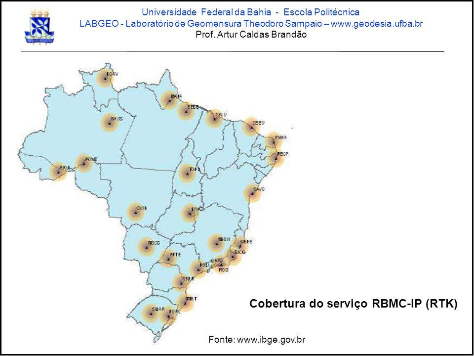 Cobertura do serviço RBMC-IP (RTK) Fonte: www.ibge.gov.br Universidade Federal da Bahia - Escola Politécnica LABGEO - Laboratório de Geomensura Theodoro Sampaio – www.geodesia.ufba.br Prof.