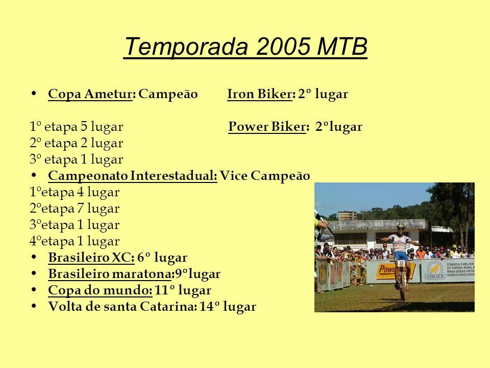 Temporada 2005 MTB Copa Ametur: Campeão Iron Biker: 2º lugar 1º etapa 5 lugar Power Biker: 2ºlugar 2º etapa 2 lugar 3º etapa 1 lugar Campeonato Interestadual: Vice Campeão 1ºetapa 4 lugar 2ºetapa 7 lugar 3ºetapa 1 lugar 4ºetapa 1 lugar Brasileiro XC: 6º lugar Brasileiro maratona:9ºlugar Copa do mundo: 11º lugar Volta de santa Catarina: 14º lugar