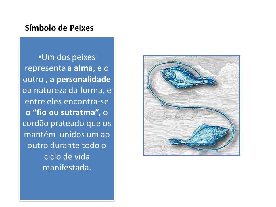 """Símbolo de Peixes Um dos peixes representa a alma, e o outro, a personalidade ou natureza da forma, e entre eles encontra-se o """"fio ou sutratma"""", o co"""
