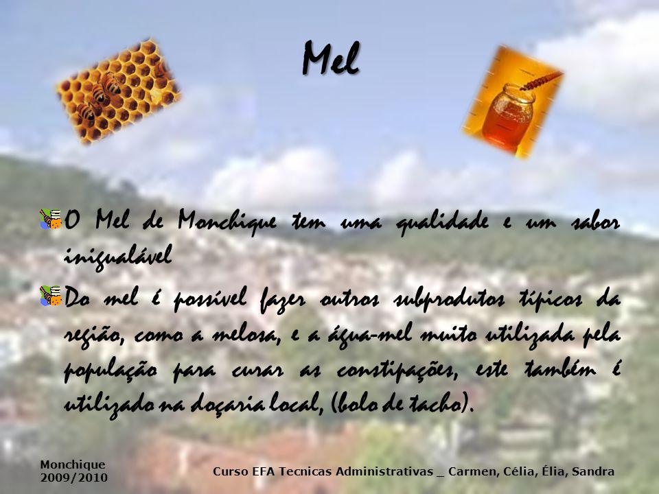 Mel O Mel de Monchique tem uma qualidade e um sabor inigualável Do mel é possível fazer outros subprodutos típicos da região, como a melosa, e a água-mel muito utilizada pela população para curar as constipações, este também é utilizado na doçaria local, (bolo de tacho).