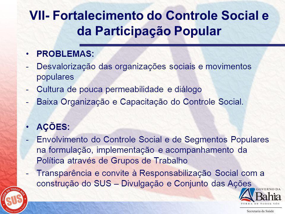 VII- Fortalecimento do Controle Social e da Participação Popular PROBLEMAS: -Desvalorização das organizações sociais e movimentos populares -Cultura de pouca permeabilidade e diálogo -Baixa Organização e Capacitação do Controle Social.