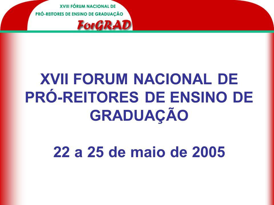 XVII FORUM NACIONAL DE PRÓ-REITORES DE ENSINO DE GRADUAÇÃO 22 a 25 de maio de 2005