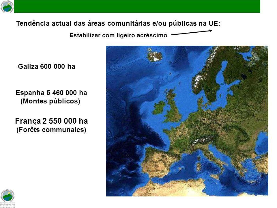 Galiza 600 000 ha Espanha 5 460 000 ha (Montes públicos) França 2 550 000 ha (Forêts communales) Tendência actual das áreas comunitárias e/ou públicas na UE: Estabilizar com ligeiro acréscimo