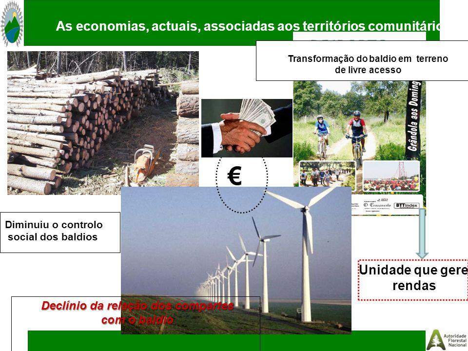 Declínio da relação dos compartes com o baldio Diminuiu o controlo social dos baldios € Transformação do baldio em terreno de livre acesso As economias, actuais, associadas aos territórios comunitários Unidade que gere rendas