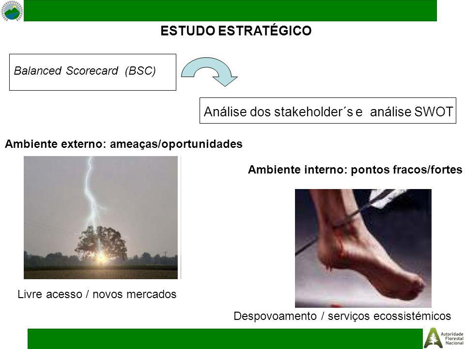 ESTUDO ESTRATÉGICO Análise dos stakeholder´s e análise SWOT Balanced Scorecard (BSC) Ambiente interno: pontos fracos/fortes Ambiente externo: ameaças/