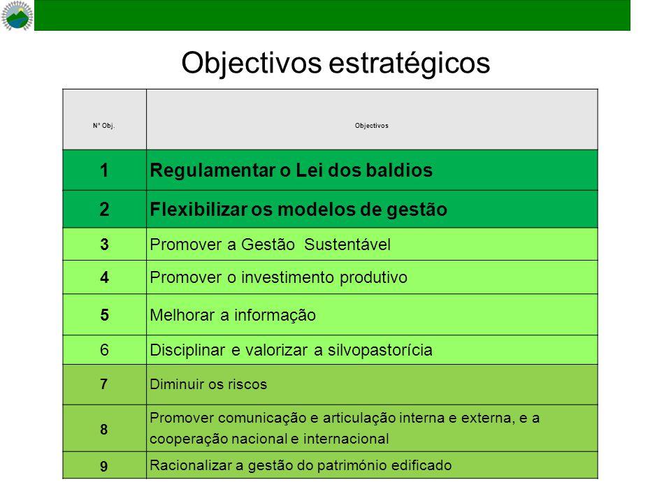 Objectivos estratégicos Nº Obj.Objectivos 1Regulamentar o Lei dos baldios 2Flexibilizar os modelos de gestão 3Promover a Gestão Sustentável 4Promover