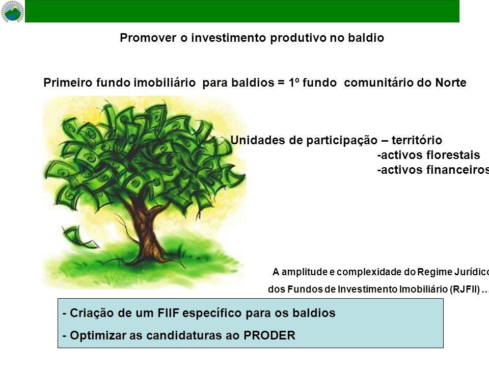 Promover o investimento produtivo no baldio - Criação de um FIIF específico para os baldios - Optimizar as candidaturas ao PRODER A amplitude e complexidade do Regime Jurídico dos Fundos de Investimento Imobiliário (RJFII) …..