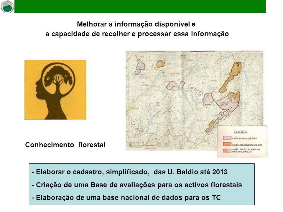 Melhorar a informação disponível e a capacidade de recolher e processar essa informação - Elaborar o cadastro, simplificado, das U. Baldio até 2013 -