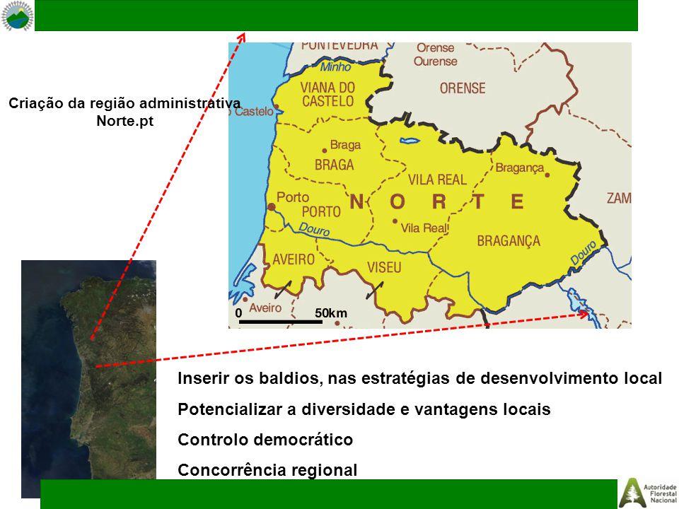 Criação da região administrativa Norte.pt Inserir os baldios, nas estratégias de desenvolvimento local Potencializar a diversidade e vantagens locais
