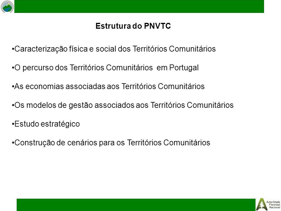 Estrutura do PNVTC Caracterização física e social dos Territórios Comunitários O percurso dos Territórios Comunitários em Portugal As economias associadas aos Territórios Comunitários Os modelos de gestão associados aos Territórios Comunitários Estudo estratégico Construção de cenários para os Territórios Comunitários