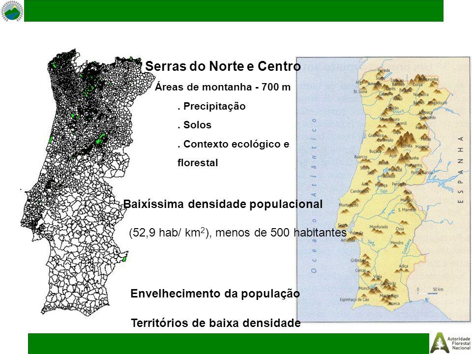 Serras do Norte e Centro Áreas de montanha - 700 m. Precipitação. Solos. Contexto ecológico e florestal Baixíssima densidade populacional (52,9 hab/ k