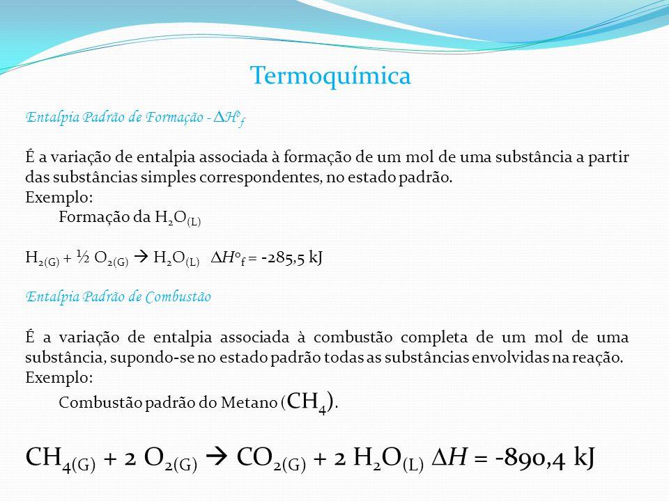 Entalpia Padrão de Formação -  H o f É a variação de entalpia associada à formação de um mol de uma substância a partir das substâncias simples corre