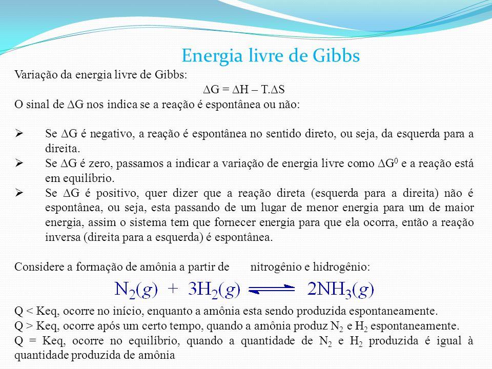 Variação da energia livre de Gibbs: ∆G = ∆H – T.∆S O sinal de ∆G nos indica se a reação é espontânea ou não:  Se ∆G é negativo, a reação é espontânea