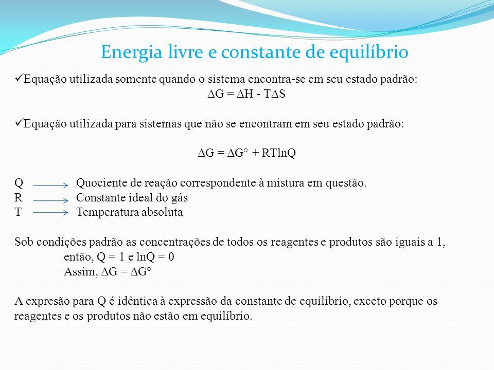 Equação utilizada somente quando o sistema encontra-se em seu estado padrão: ∆G = ∆H - T∆S Equação utilizada para sistemas que não se encontram em seu